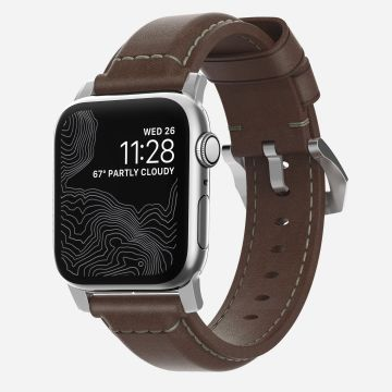 Traditional Leather Strap Silver/Brown